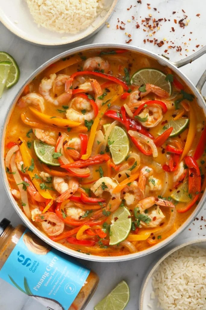 Shrimp Panang Curry in a pan ready to eat!