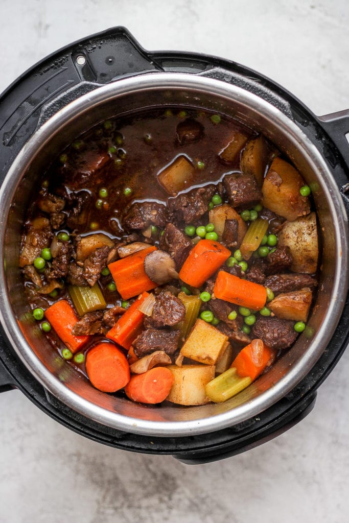 beef stew with roasted veggies in the instant pot
