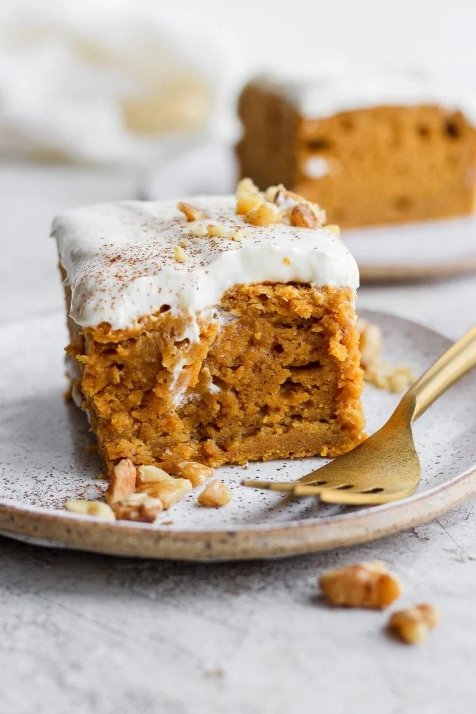 Piece of pumpkin sheet cake on a plate