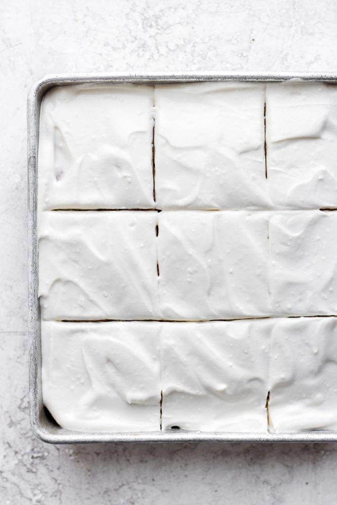 Frozen pumpkin sheet cake with cream cheese frosting