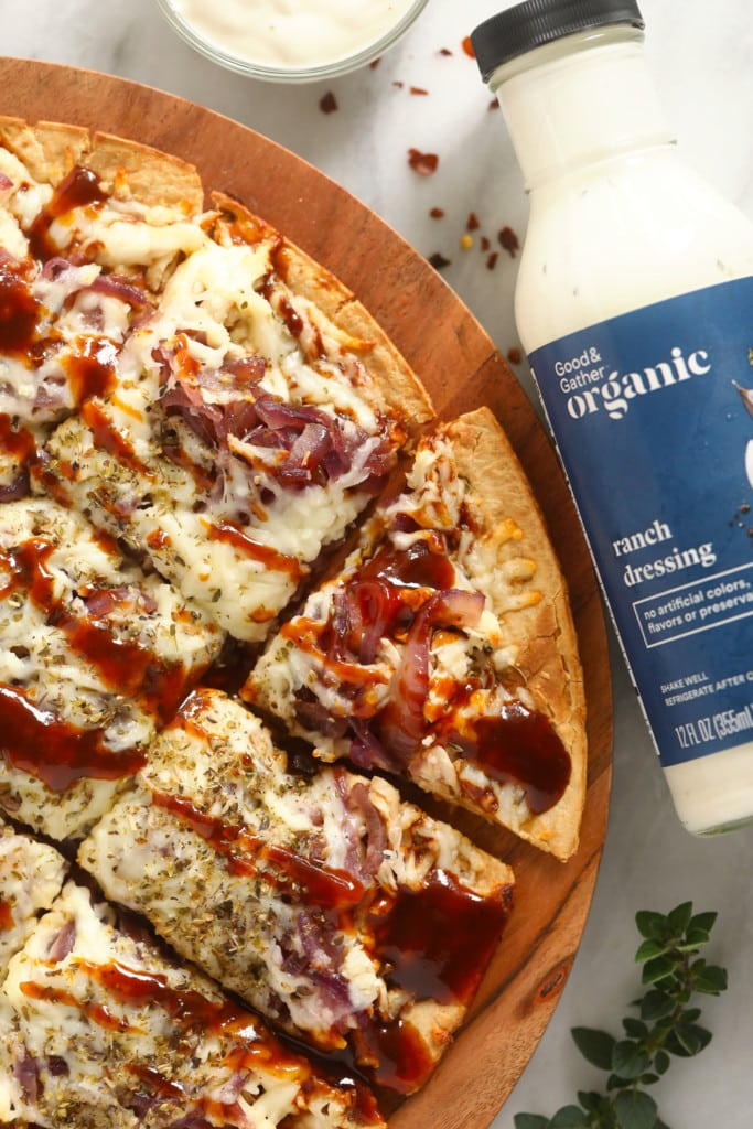 bbq chicken pizza on cutting board