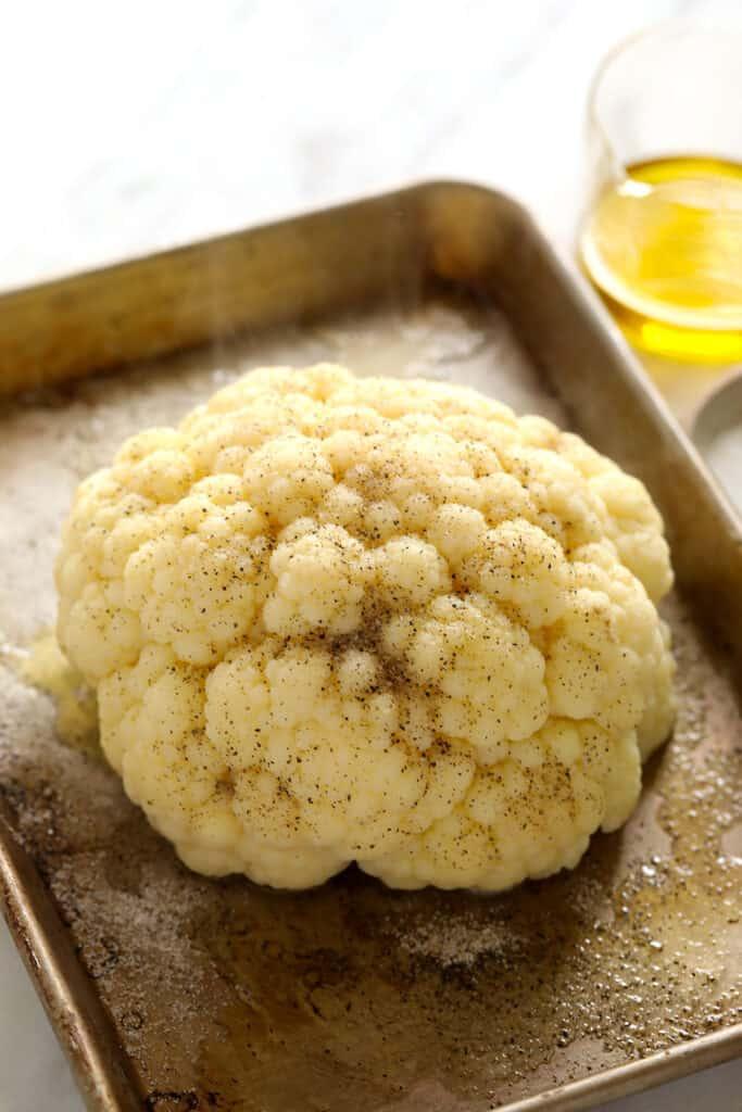A head of steamed cauliflower.