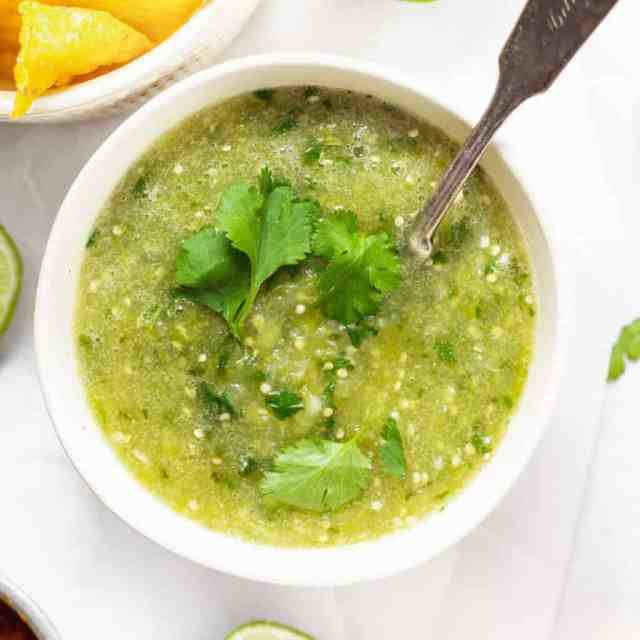 salsa verde in bowl