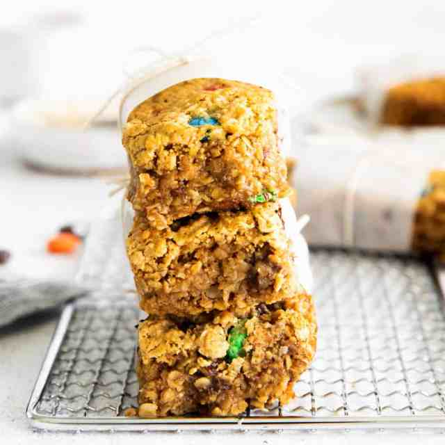 monster cookies bars stacked