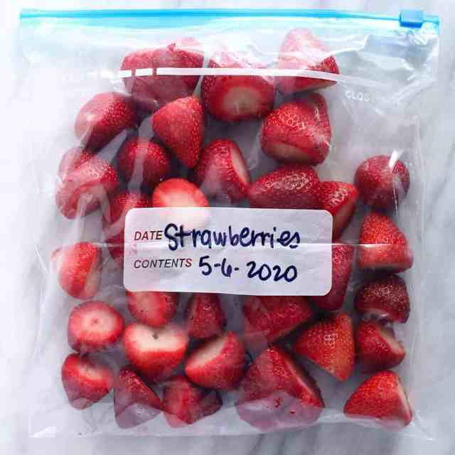 A bag of frozen strawberries.