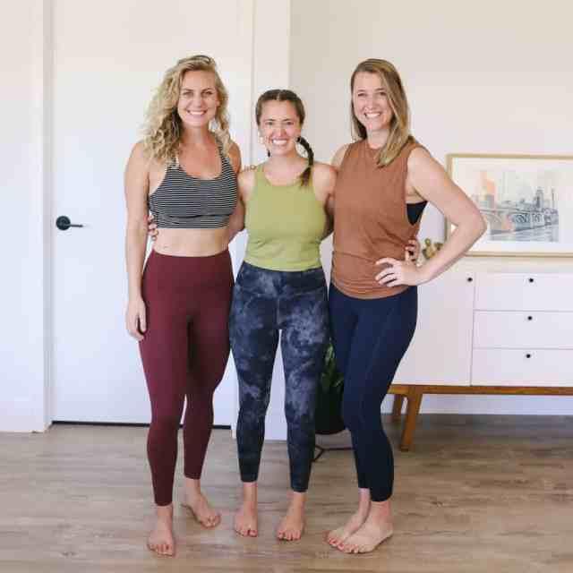 3 women wearing lululemon leggings