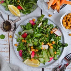 Vegan gluten free Green kale salad with spicy roasted chickpeas