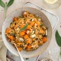 Squash, mushroom & sage risotto in a bowl