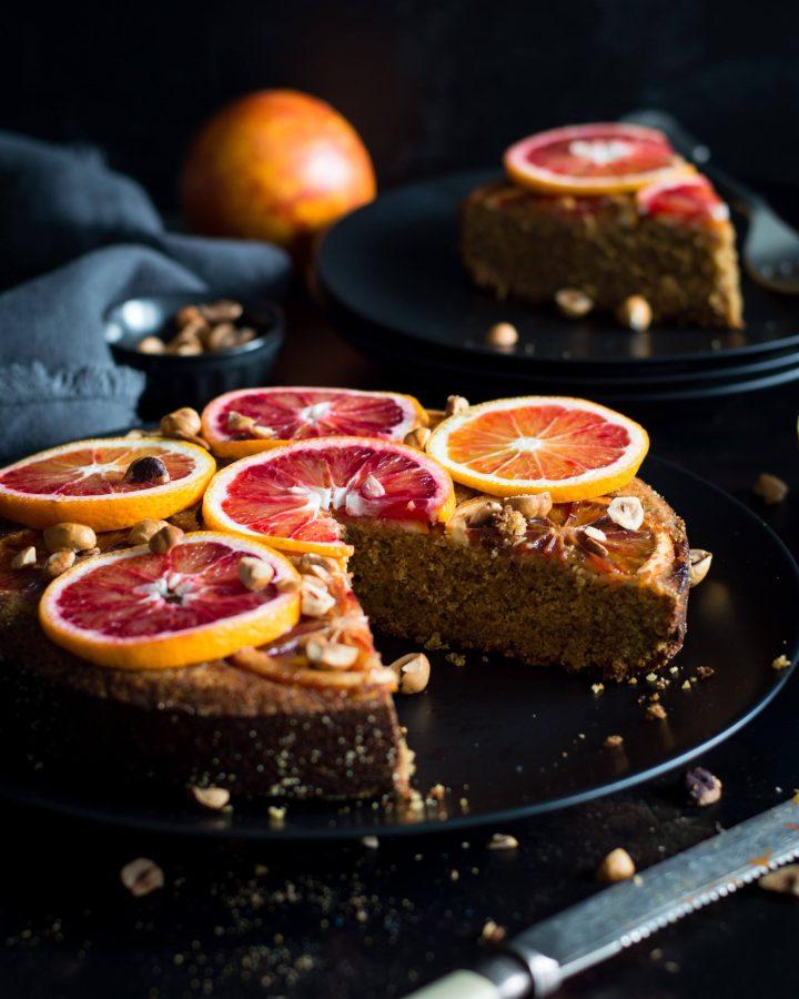 Upside down vegan blood orange cake