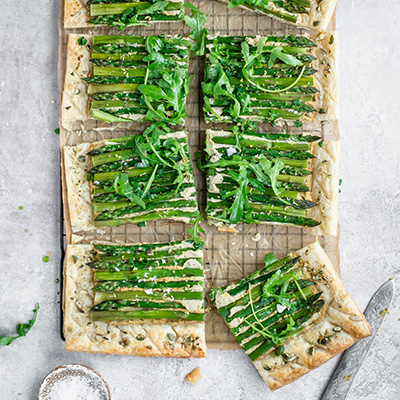 Top down view of asparagus tart