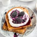 Vegan French toast with yoghurt and berry compote