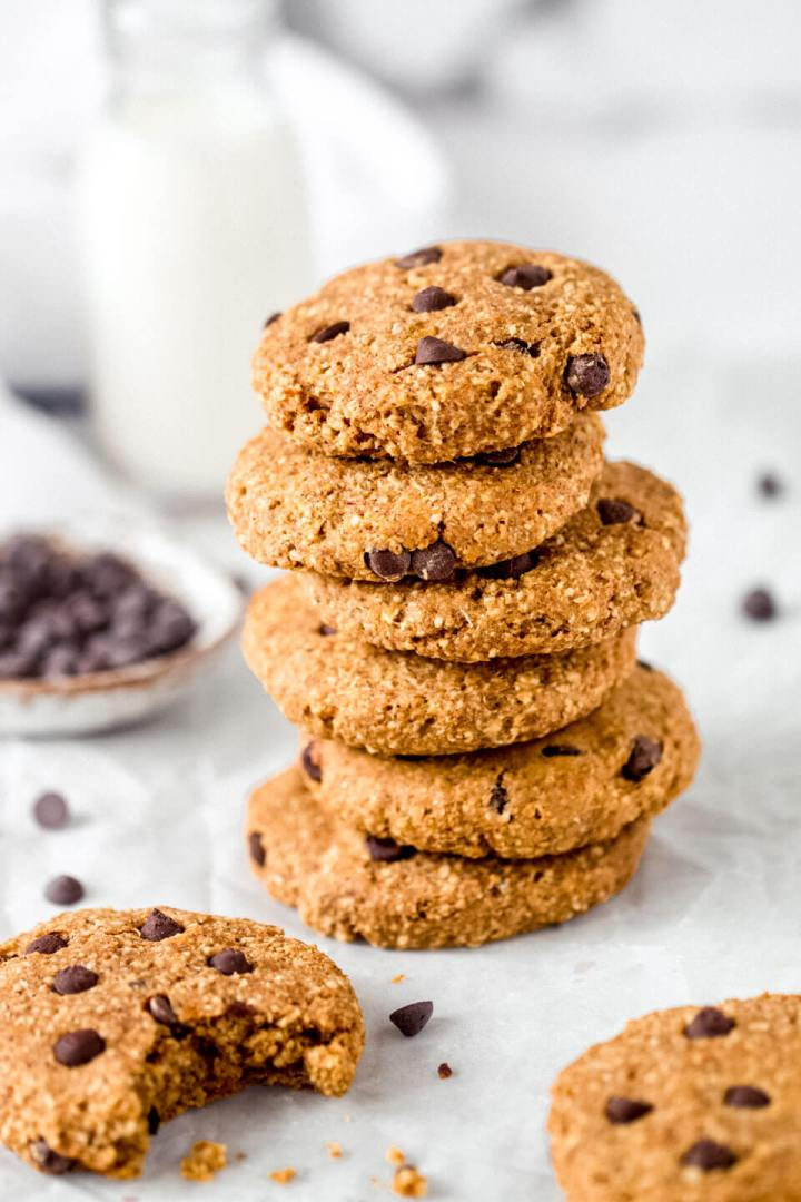 A stack of pumpkin & chocolate chip cookies with milk – Fit Foodie Nutter