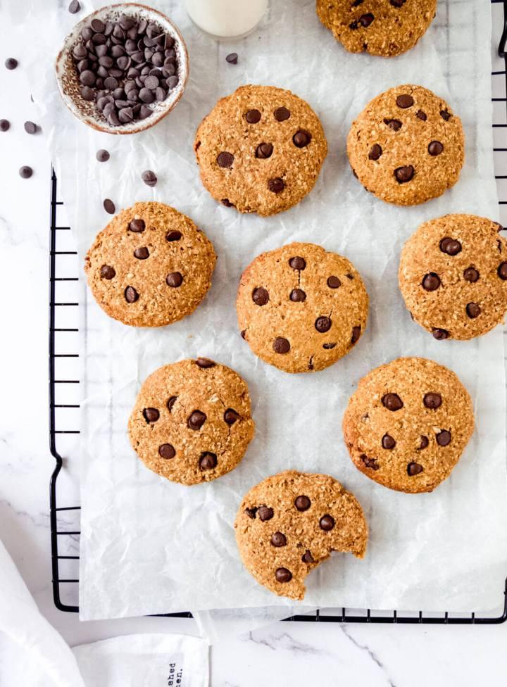 Top down view of pumpkin & chocolate chip cookies – Fit Foodie Nutter