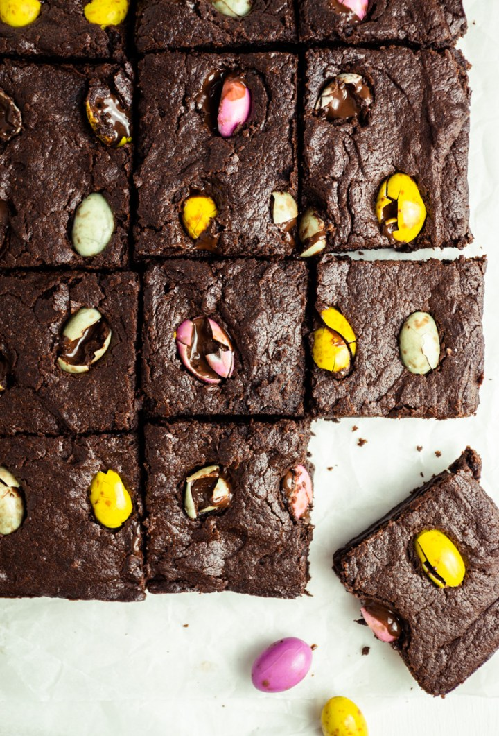 Top down view of vegan mini egg brownies