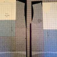 Front and back patterns laid on color block assemblies.