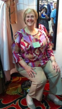 Monica, greeting sewers in the Fit for Art booth in at the Cleveland Original Sewing and Quilt Expo.