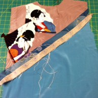 The ikat strip flipped and pressed.