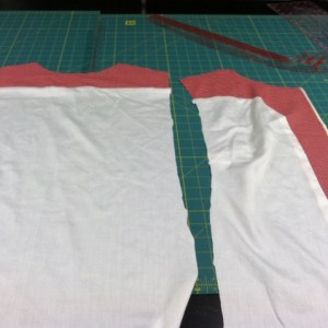 The lining as it is being prepared. Such a soft cotton.