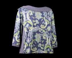 Blue Paisley with Rounded Collar