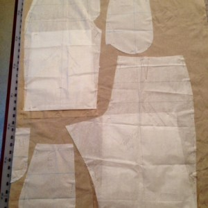 Pattern laid out for linen shorts