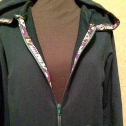 Green hoodie inside zipper
