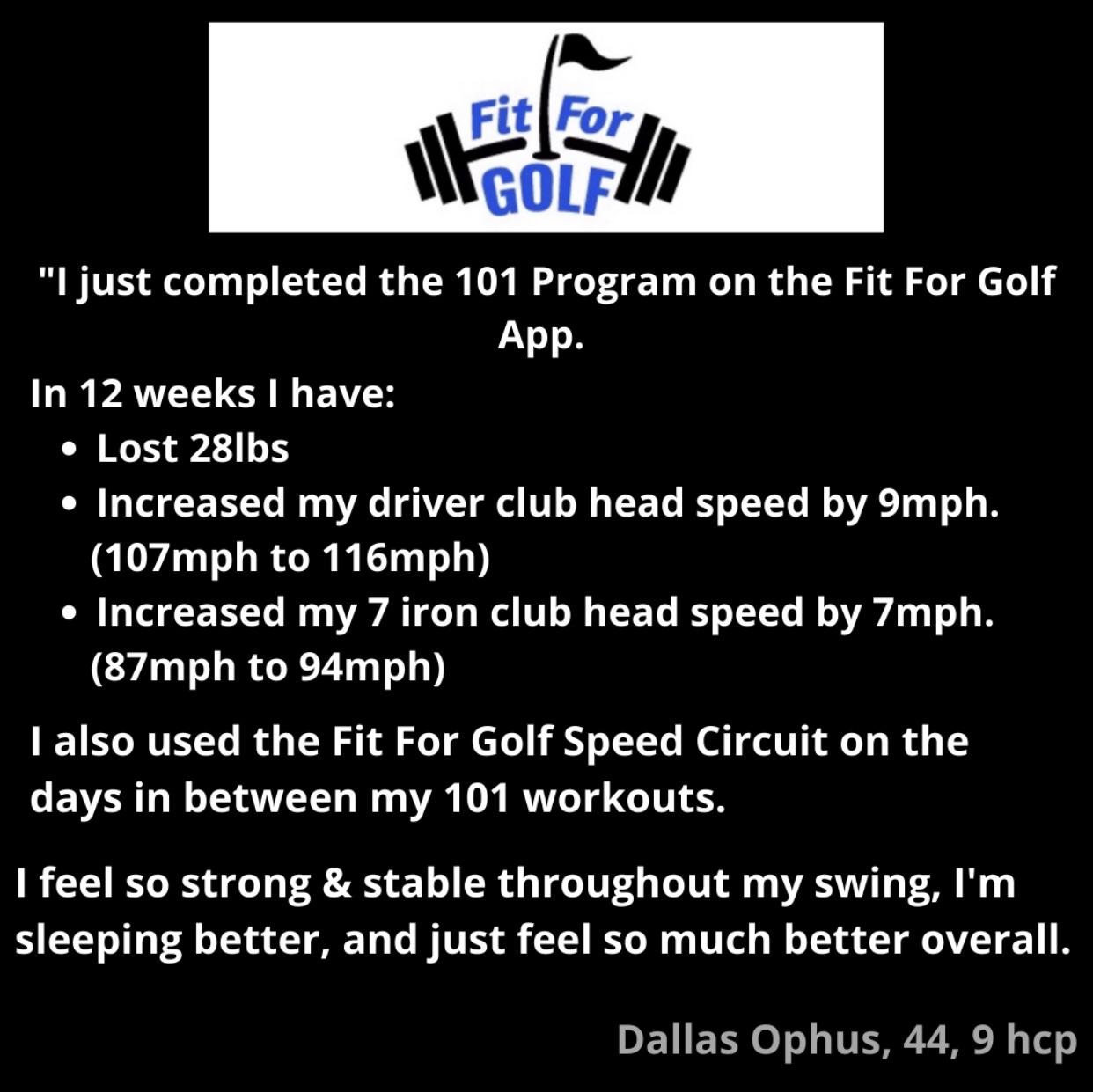 Club Head Speed Increases 9 MPH in 12 weeks