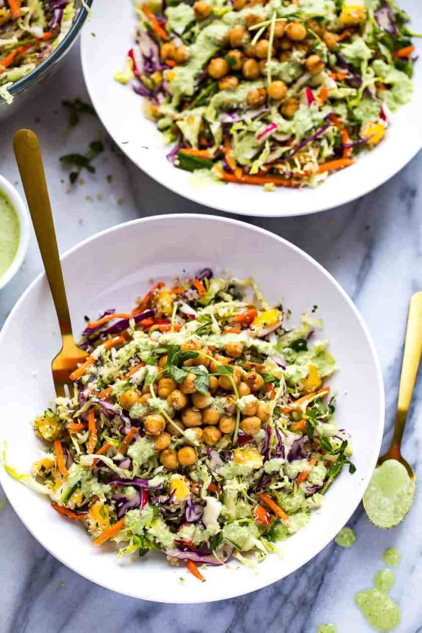 salad in a bowl with chickpea, quinoa and power greens