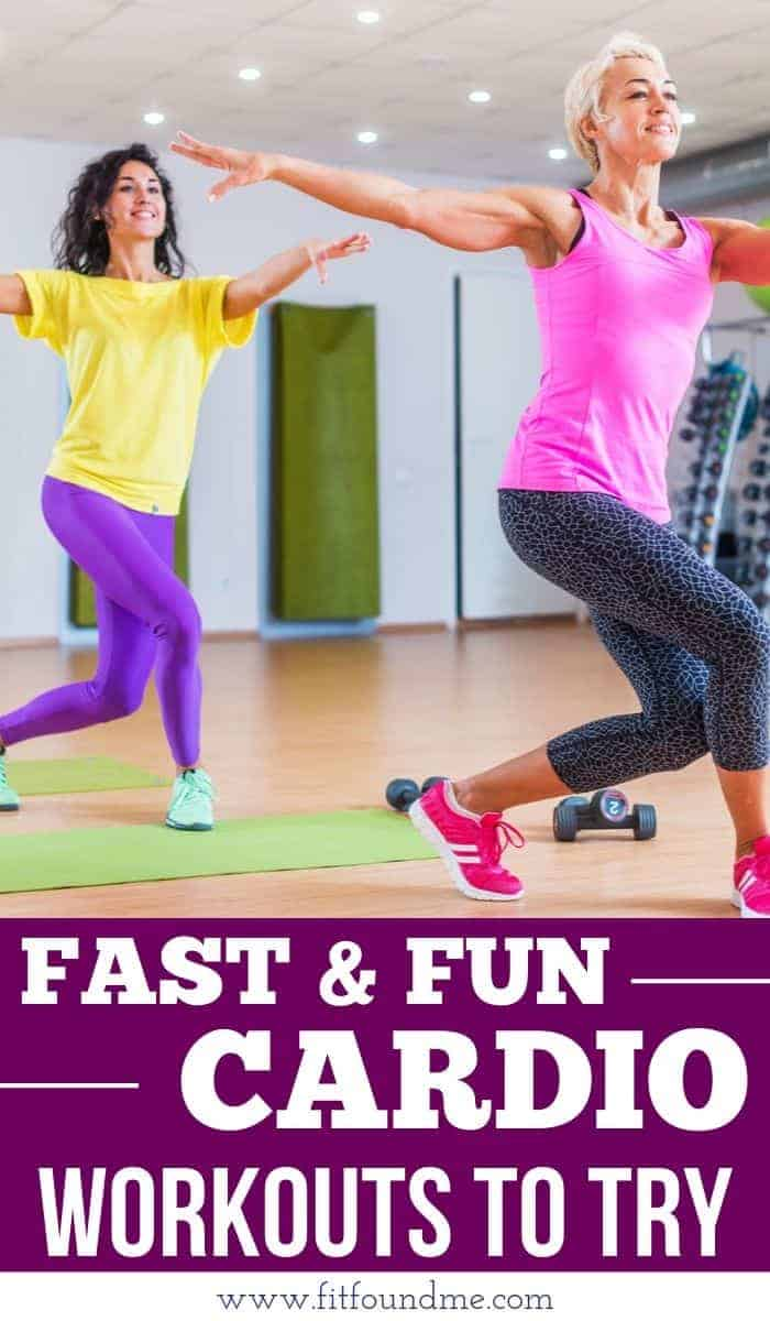 2 women doing fast and fun cardio dressed in colorful clothing