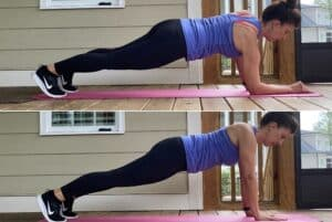 woman doing plank up downs