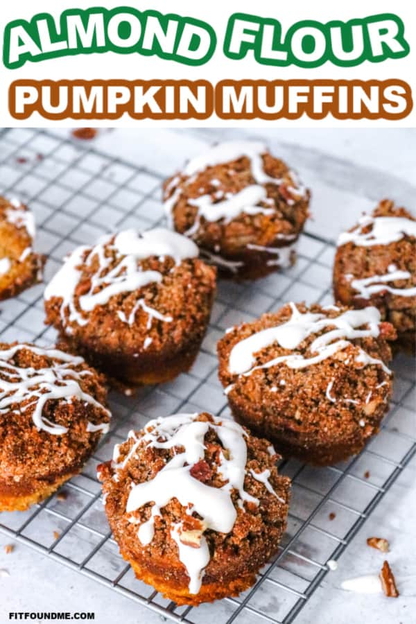 6 almond flour pumpkin muffins with streusel on cooking rack