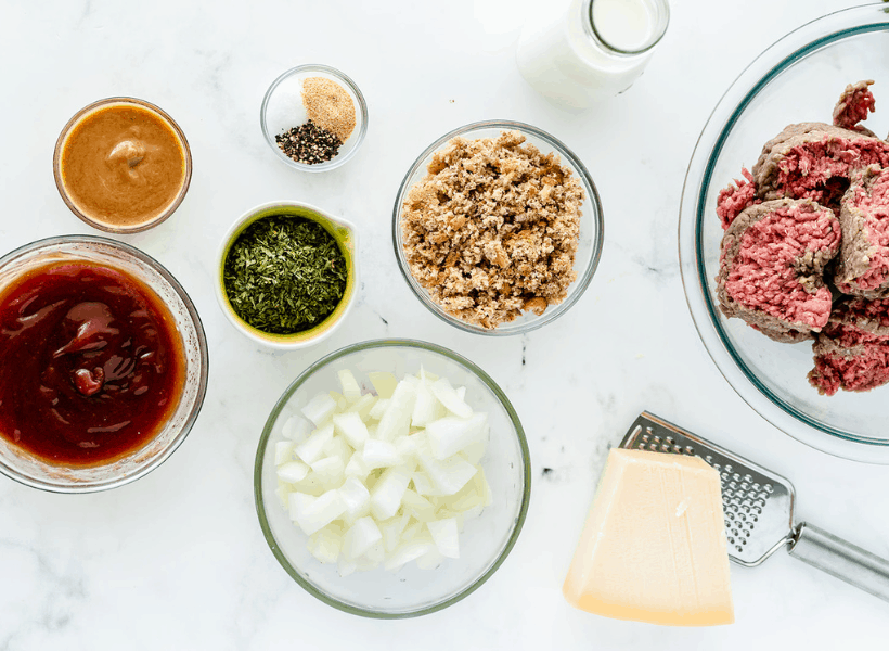 all ingredients for meatloaf in bowls