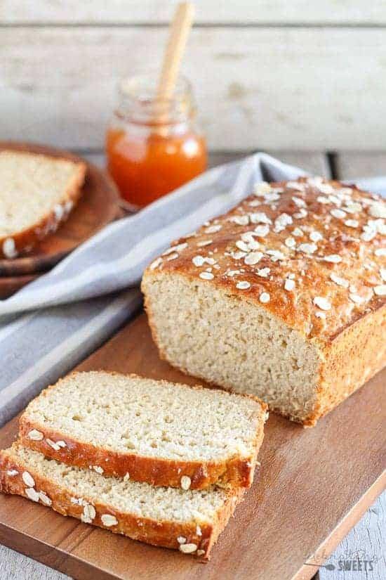sliced homemade no yeast oat bread sliced