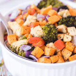 bowl of roasted vegetables with chicken