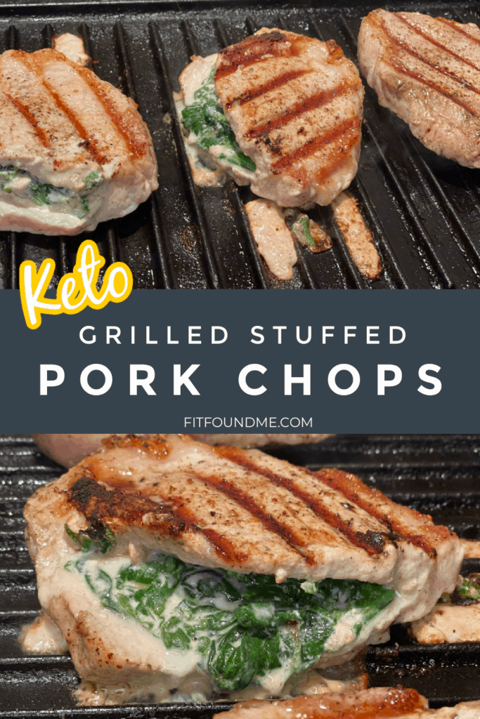 pork chops stuffed with spinach and cheese cooking on grill
