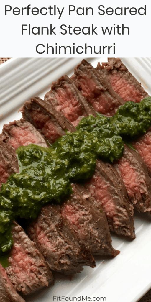 chimichurri flank steak on a platter