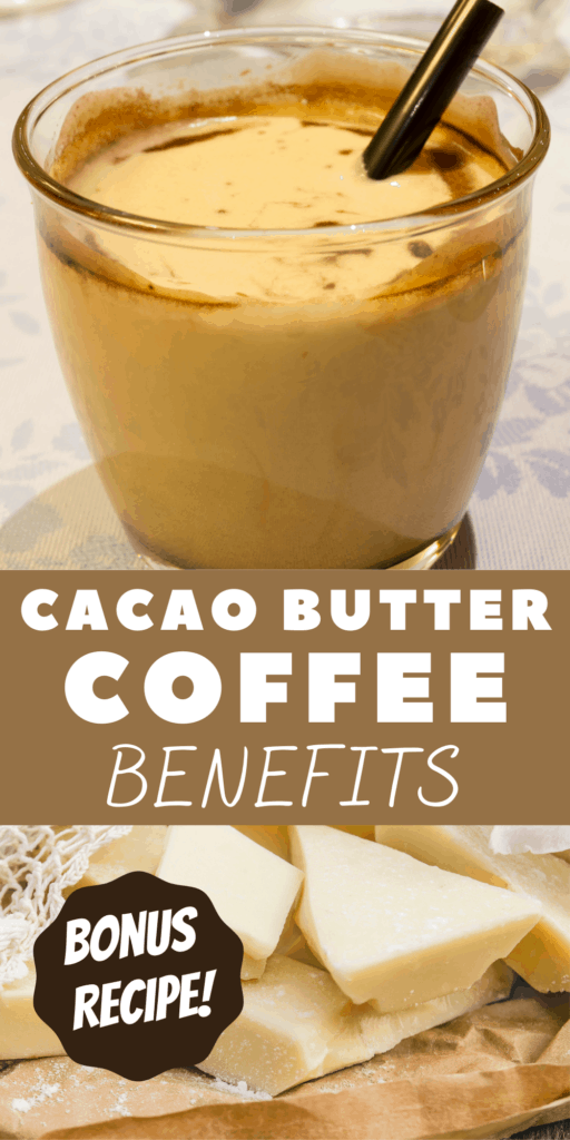 cup of coffee butter and chunks of cacao butter