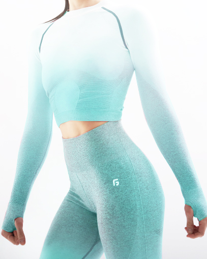 teal seamless workout outfit