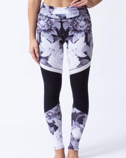 grey flower print leggings