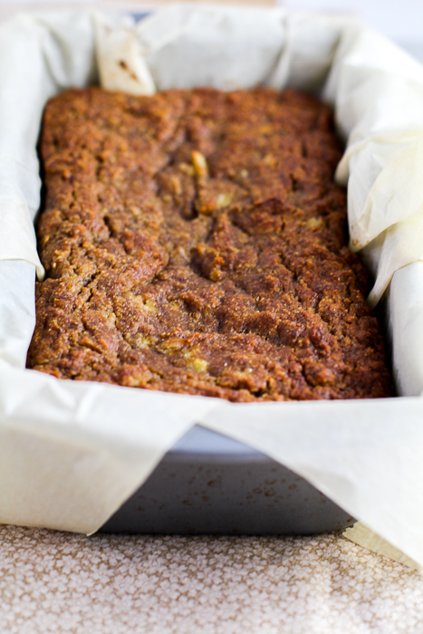 Paleo Banana Coconut Bread in loaf pan
