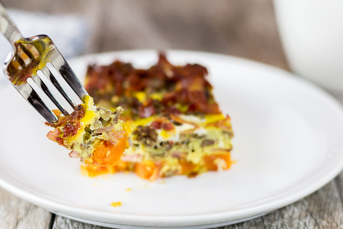 Paleo Three Meat and Sweet Potato Breakfast Casserole