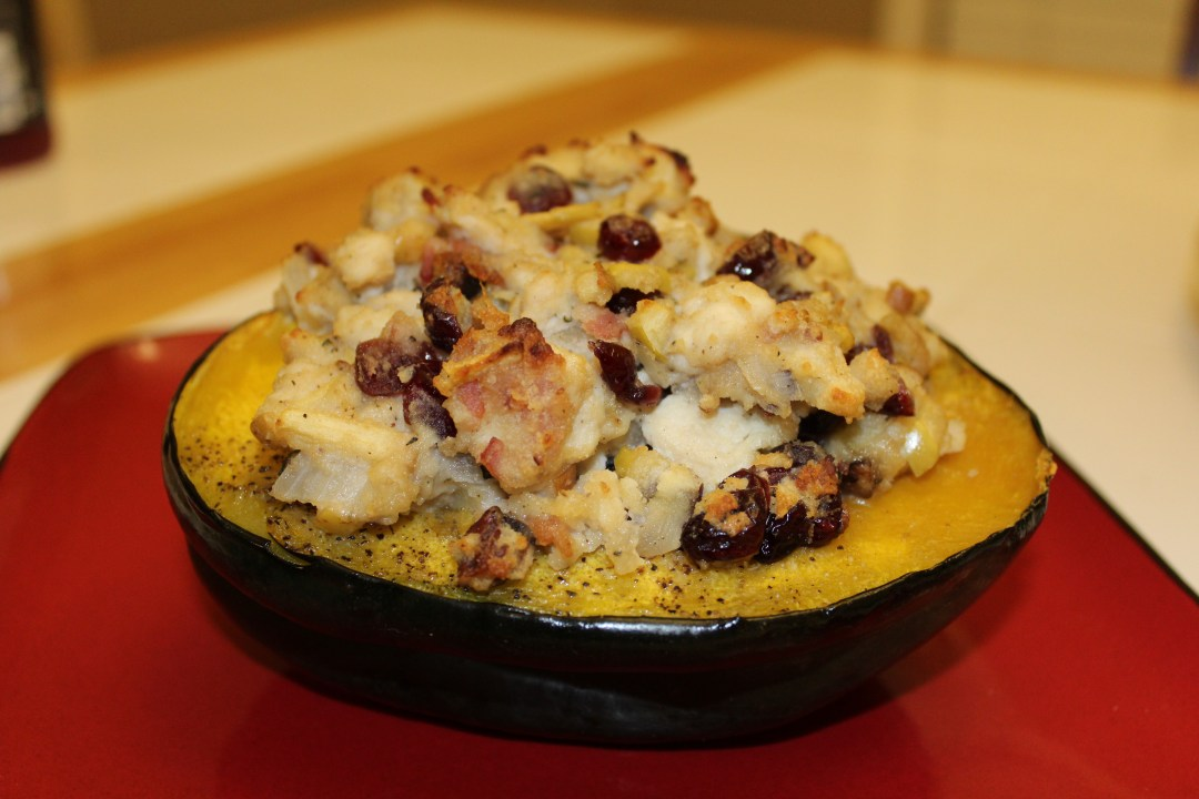 This Chicken Stuffed Acorn Squash has all of the flavors of fall in one dish. Cranberries, Pecans, Apple, and Squash combine together to form this delicious, tasty paleo meal!
