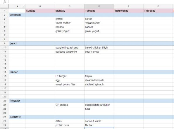 meal planning spreadsheet