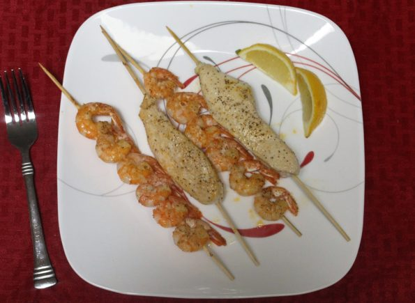 Lemon Paprika Chicken and Shrimp Skewers - a quick and easy tasty paleo meal!