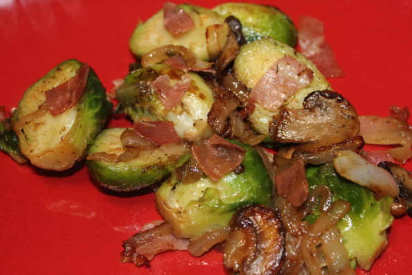 Sauteed Brussels with Prosciutto - a tasty, paleo side dish to compliment any meal