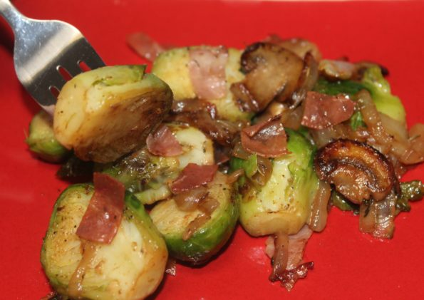 Sauteed Brussels with Prosciutto - a flavorful, tasty paleo side dish