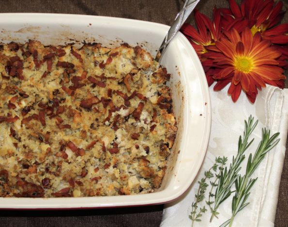 Paleo Thanksgiving Bacon, Sausage Apple Stuffing. Don't get your stuffing from a box! This gluten-free stuffing is full of delicious Thanksgiving flavor! A great tasting option made with real food.