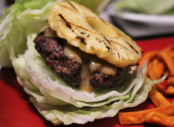 Paleo Grilled Pineapple BBQ Burgers with homemade mustard BBQ sauce