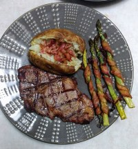 Whole 30 Meals - Grilled Ribeye, baked potato and Bacon-wrapped asparagus
