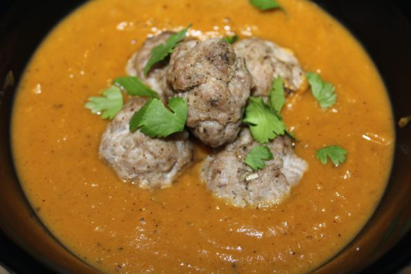 Roasted Butternut Squash Sweet Potato Soup with Pork Meatballs is a savory, flavorful soup that is paleo and Whole 30 approved
