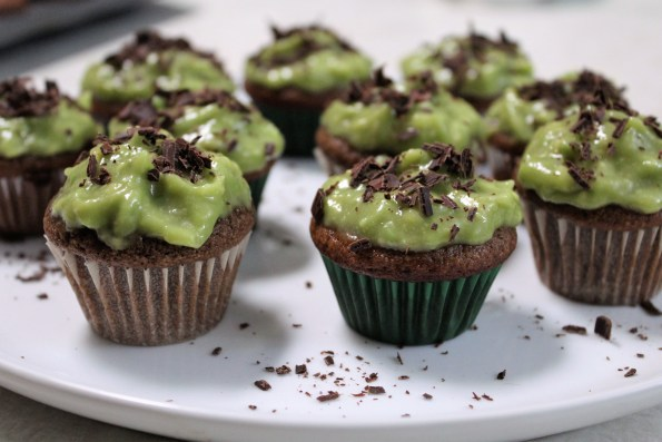 Paleo Saint Patrick's Day Cupcakes - a gluten free thin mint mini cupcake with avocado icing